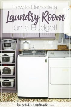 Stop hiding your laundry room. Instead learn how to remodel a laundry room on a budget! Tips for creating an amazing space without breaking the bank! Housefulofhandmade.com | #laundryroom #budget #remodel #roomreveal #remodeltips via @kati_farrer Room Makeover, Basement Laundry Room, Diy Storage, Living Room Remodel, Room Diy, Room Remodeling, Laundry Room Storage, Laundry, Room Storage Diy