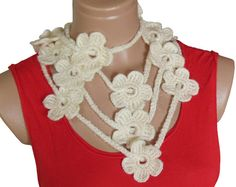 Hand made crochet cream lariat scarf Fashion by specials4you, $23.00