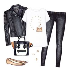 Outfit collage, Doll Memories white printed t-shirt, black biker jacket and jeans, pointed toe flats