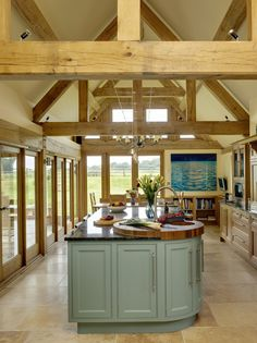 Border Oak - Kitchen extension with oak framing. again i like all the exposed wood and island. Open Kitchen And Living Room, Barn Kitchen, Farmhouse Kitchen Decor, Kitchen Units, Kitchen Ideas, Kitchen Wood, Glass Kitchen, Country Kitchen Designs, Rustic Home Design