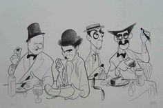 """Fields,Charlie Chaplin, Buster Keaton & Groucho Marx titled """"Four Great Comedians at Lunch"""". Drawing by Alfred Hirschfeld dated photos- July 1937 -To mark the opening of the. Marcello Mastroianni, Groucho Marx, Charlie Chaplin, Buster Keaton, Funny Caricatures, Celebrity Caricatures, Caricature Drawing, Caricature Artist, The Lone Ranger"""
