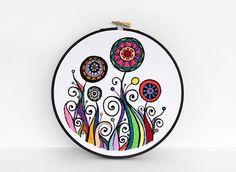 Rainbow Garden Embroidery Hoop | Flickr - Photo Sharing! Sarah Hennessey