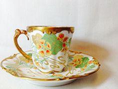 J Pouyat Limoges PTD 1908 cup and saucer ornate flower and gold detailing Tea Cup Set, My Cup Of Tea, Tea Cup Saucer, Antique Tea Cups, Antique Glassware, Vintage Tea, Vintage Dishes, Le Diner, Kunst