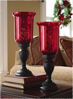 Red Mercury Glass Hurricane Candle Holders like these for table centres, with church candles and surrounded by winter greens Red Centerpieces, Wedding Table Centerpieces, Wedding Decorations, Wedding Tables, House Decorations, Centerpiece Ideas, Wedding Ceremony, Hurricane Candle Holders, Hurricane Glass