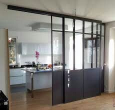 Verrire with a double sliding door ral 7021 Verrire avec une double porte coulissante ral 7021 - Door Küchen Design, House Design, Interior Design, Double Sliding Doors, Modern Room, Kitchen Interior, Home Kitchens, Sweet Home, New Homes