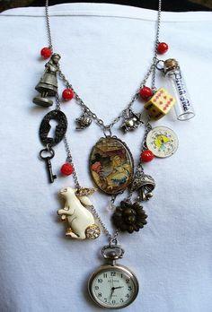 Vintage Alice in Wonderland Bib Charm Assemblage Pocket Watch Necklace Jewelry Crafts, Jewelry Art, Vintage Jewelry, Handmade Jewelry, Jewelry Design, Charm Jewelry, Found Object Jewelry, Pocket Watch Necklace, Book Necklace