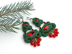 Green red soutache crystal earrings large evening dangle