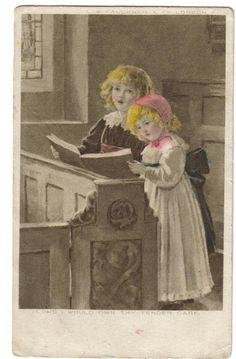 教会で歌う子どもたち - Snowdrop Postcards アンティークカード専門店