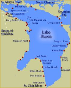 Map of Lake Huron Lighthouses, going to Sturgeon Point. that is where my dad was born, in the lighthouse. State Of Michigan, Michigan Travel, Lake Michigan, Northern Michigan, Harbor Beach, Lake Huron, Upper Peninsula, Seen, Lake Erie