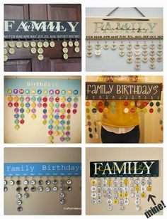 A faire avec Erine ! Family Birthday and Anniversary Calendar inspiration. See how I made mine, using my Silhouette and paper key tags at Clever Nest. Diy Projects To Try, Home Crafts, Crafts To Make, Fun Crafts, Craft Projects, Craft Ideas, Family Birthday Calendar, Family Birthday Board, Craft Gifts
