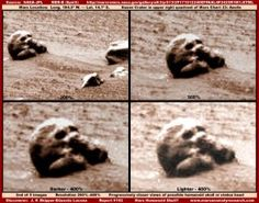 """Here are another two intriguing images of the red planet which have been released by NASA. The first image shows what many people believe to be either a skull or the head of a statue.  Although this could potentially just be an optical illusion and, as NASA claimed before, be a result of pareidolia or apophenia, the eye sockets appear to be symmetrical and the actual shape of the """"skull"""" itself is extremely convincing."""