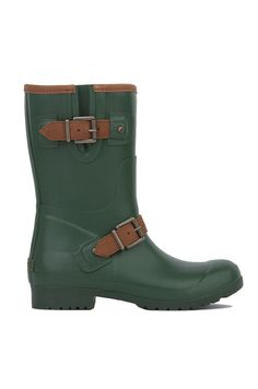 1f301125522 The Sperry Walker Fog Rain Boots in Green feature a rounded toe