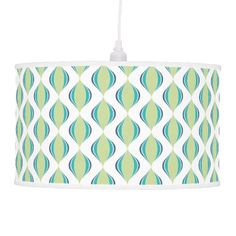 Blue | Green | White Ogee Pattern Ceiling Lamps