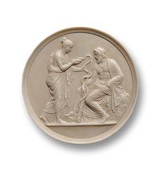 Medallón Salus y Esculapio. Alegoría de la salud y patrón de las ciencias curativas. copia arqueológica de medallón romano. Regalos originales con cultura.