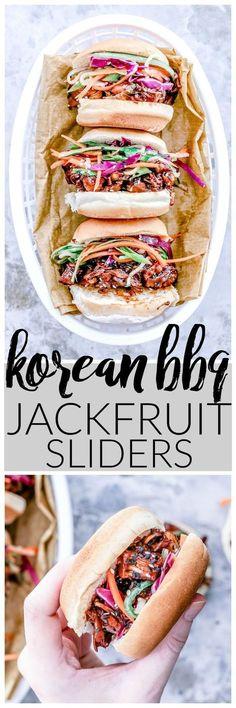 30-minute Korean BBQ Jackfruit Sliders Recipe! // Killingthyme.net / Vegan burger / Vegetarian burger / Veggie burger / Plant based burger / #jackfruit #koreanbbq #vegan #vegetarian #recipe #lunch