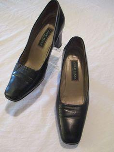"""Cole Haan Blue Leather 3"""" Thick Heel Pumps 7.5 B Women Shoe  #ColeHaan #PumpsClassics #WeartoWork"""