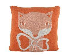 Decorative Pillow - Mrs.Fox - soft knitted pillow - orange, ecru, 18x18, includes insert.