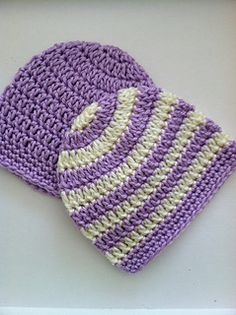 """Preppy"" Crochet Baby Beanie in Stripes and Solids Newborn ~ free pattern"