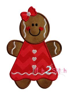 Gingerbread Girl Applique Design In Hoop Sizes by TheItch2Stitch, $4.00