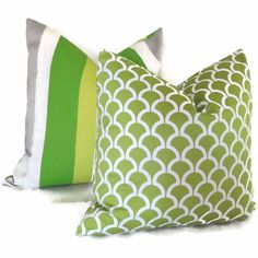 Green and White Scallop Decorative Pillow Cover 18x18 by PopOColor
