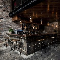 Donny's Bar in Sydney, Australia. The bar you can see in this photograph is made entirely from reclaimed railway sleepers!