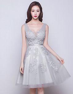 vestir-plata+cóctel+vestido+de+fiesta+con+cuello+en+V+hasta+...+–+MXN+$+1,308.81