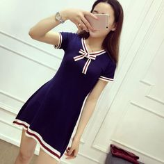 Mini Color Block Lacing Bow Striped Short-sleeve Knitted One-piece Dress