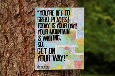 """Graduation is right around the corner!  Perfect for a dorm room or maybe a new apt?  """"Youre off to great places..."""" Dr Seuss quote canvas by Houseof3,"""