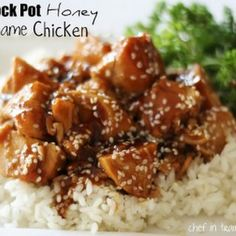 Crock Pot Honey Sesame Chicken Recipe Main Dishes with boneless skinless chicken breasts, salt, pepper, honey, soy sauce, diced onions, ketchup, canola oil, garlic, red pepper flakes, corn starch, sesame seeds