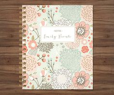 notebook journal custom / personalized lined notebook / blank notebook / spiral bound notebook / sage green pink gold floral flower pattern