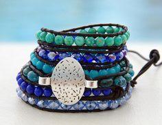 Deep Blue Sea... Leather wrap bracelet....A rhapsody by OceanBead, $76.00