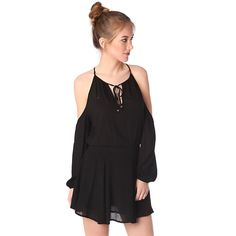 Black cold shoulder mini dress with keyhole and tie front