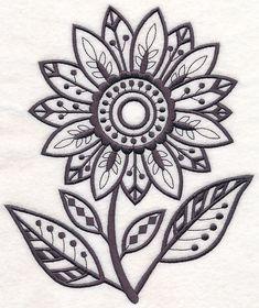 Summer Sunflower (Blackwork) design (M7337) from www.Emblibrary.com