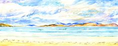 Scarasta Beach, Isle of Harris by Debbie Cullis - Paint a seascape or harbour scene to win copies of David Bellamy books from Search Press Isle Of Harris, Painting Competition, Seascape Paintings, Craft Activities, Scene, Gallery, Beach, Illustration, Artist