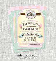 ice cream parlor birthday party invitation by misspokadot on Etsy