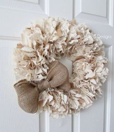 Burlap and Muslin Rag Wreath with Bow Rustic by TeaAndHoneyDesigns