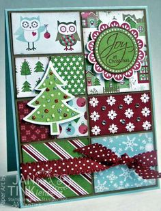 Joy at Christmas Quilt Owls Tree Merry Christmas by JanTink, $5.95