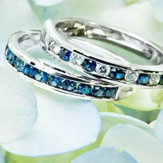 Channel Set Round Sapphire Ring and Channel Set Round Diamond and Sapphire Ring