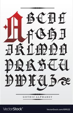 gothic font alphabet with decorations photo Gothic Lettering, Graffiti Lettering Fonts, Chicano Lettering, Tattoo Lettering Fonts, Gothic Fonts, Creative Lettering, Lettering Design, Alphabet Police, Typography