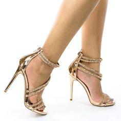 Gold Heels, Stiletto Heels, High Heels, Cheap Pumps, Dress Sandals, Ankle Straps, Crystal Rhinestone, Carry On, Crocs Kadee