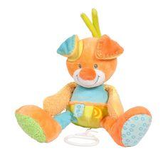Musical pull string dog 28cm - #baby #bebe #doudou #knuffel #knuffelbeer #cuddlytoy #kuscheltier #nattou #papa #mama #mom #dad #father #mother #parents #maman #grossesse #zwanger #pregnant #pregnancy #zwangerschap #enceinte #cuddly #peluche #plush #Plusch #schwanger #geboorte #geburt #birth #naissance #vater #eltern #mutter #ragdoll #cuddly #toy #cadeau #gift #geschenk #hond #chien #dog #hund #oranje #orange