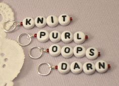 Knitting stitch markers, set of four, Sayings on Etsy, $6.00