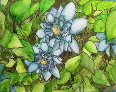 """""""Blue Flowers with Leaves,"""" watercolor, pen and ink by Elizabeth Crabtree, 2008"""