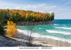 Lake Superior Chapel Beach - Pictured Rocks National Lakeshore along the coast of Lake Superior near Munising Michigan in Autumn