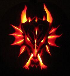 Carved pumpkin. Dragon head. Oct 2013. Wolf Hogen Designs©