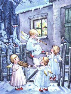An angel concert – Vintage Swedish Christmas card from Silverbluestar, via Flick … - Christmas Cards Swedish Christmas, Christmas Scenes, Christmas Past, Christmas Carol, Christmas Angels, Christmas Greetings, Christmas Concert, Christmas Poinsettia, Crochet Christmas