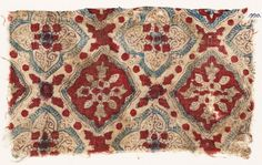 Date 2nd half of the 10th century - 15th century AD Material and technique: cotton, block-printed with mordant, dyed purple and red, and applied with blue dye (probably by hand); with stitching in cotton