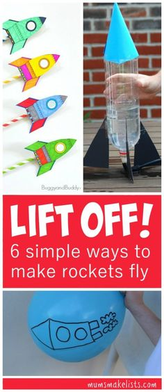 Rockets - 6 simple fun experiments that let even small children explore the forces that launch rockets, STEM Activity for Kids: How to make rockets fly. This is a roundup of fun ideas for science lessons, home play ideas or outdoor play activity Kid Science, Science Week, Preschool Science, Preschool Rocket, Science Space, Science Museum, Montessori Preschool, Preschool Education, Stem Rockets