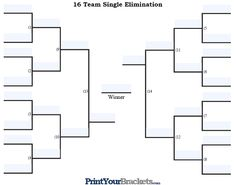 Fillable  Team Single Elimination Tournament Bracket  March