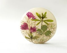 Real flowers resin necklace pressed flowers pendant by UralNature